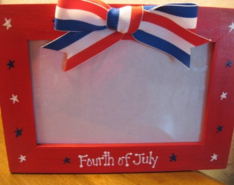 Fourth of July Americana photo frame patriotic family personalized picture frame