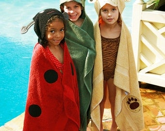 Animal Wrappers Hooded Towel E-pattern