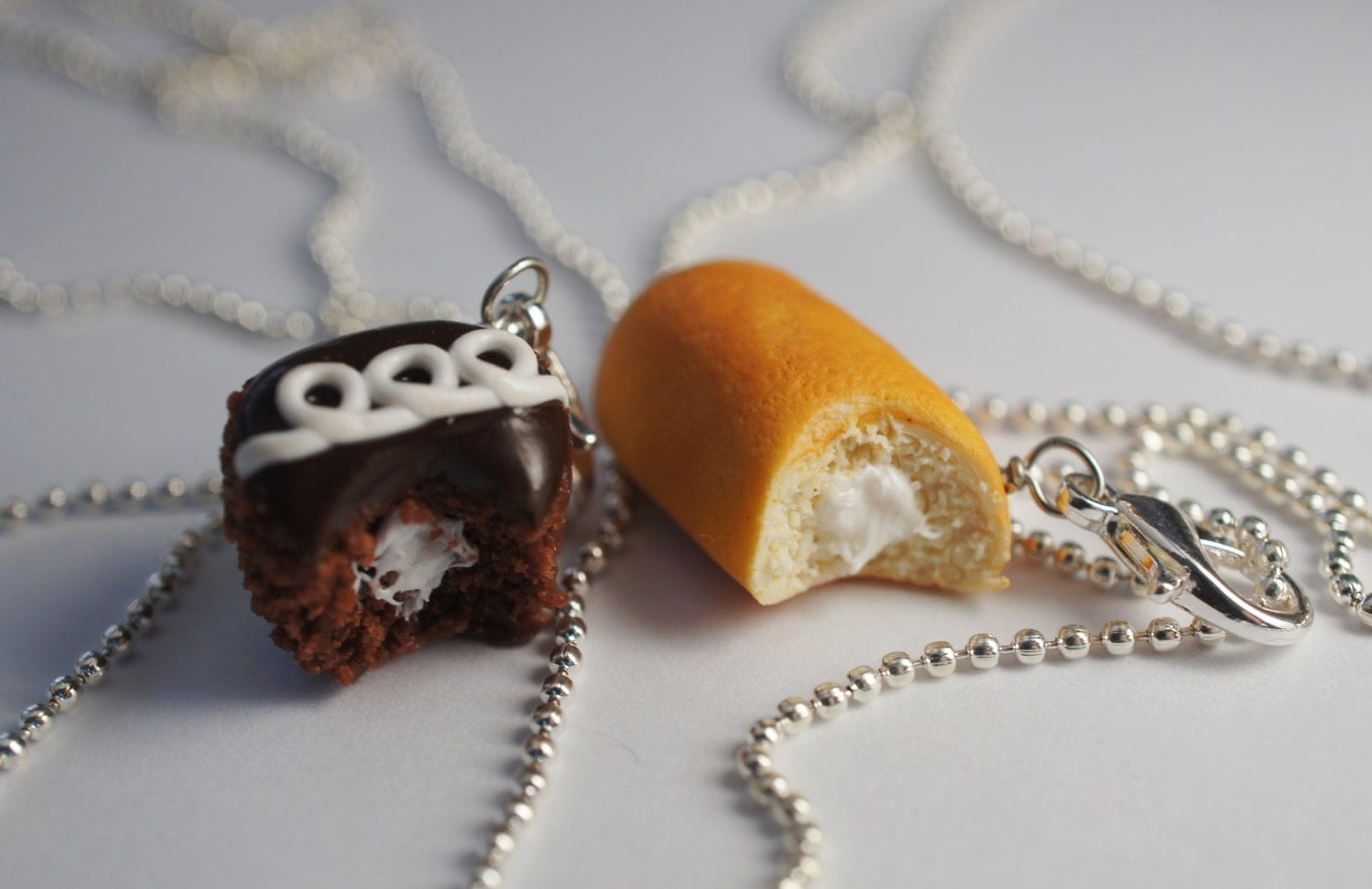best friend necklace set miniature food jewelry polymer clay