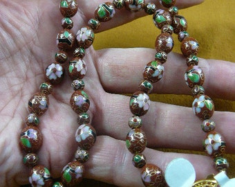 Rust Brown Cloisonne Beads pink white flower flowers 20 inch long bead beaded GEM Necklace jewelry V246-5