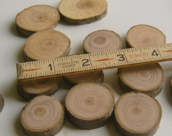 30 Tree Branch Slices 1 to 1.5  inch  wooden craft circles