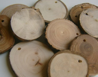 50 Assorted  Blank Tree Branch Slices 2 to 3 inch Drilled