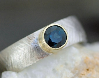 White and Yellow Recycled Gold Ring with Indigo Blue Sapphire