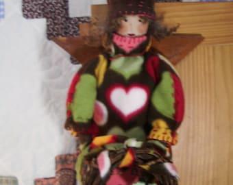 "Handmade folk art primitive  23"" angel doll Valentine  Heart Hug Me"