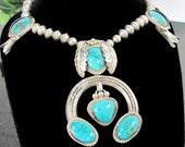Vintage NAVAJO SQUASH BLOSSOM Sterling Turquoise Necklace Silver Leaves Signed K