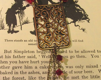 Item 2122 Copper Fancy Red swavorski Necklace