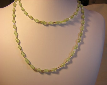 38 Inch Light Green Glass Bead Necklace