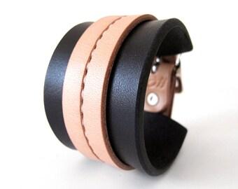 SAMPLE SALE - Black & Tan One Strap Saddle Stitch Cuff