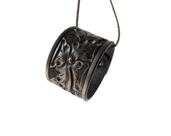 Wild Rose Floral Leather Cuff - Custom Browns - Small