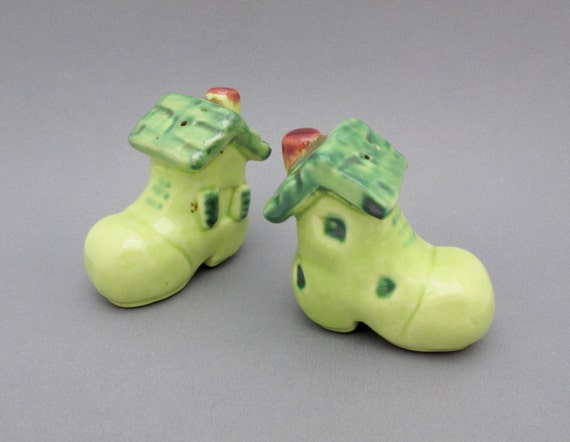 1950s Salt and Pepper Shakers Folkloric Gnome Cottages