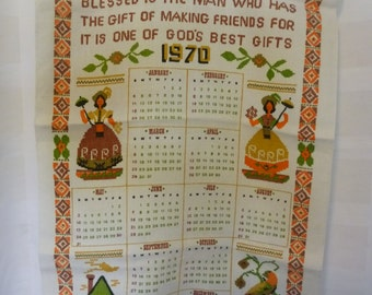 1970 Linen Tea Towel Calendar, Friends