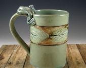 Nature Theme Leaf Pottery Mug in Celedon - 566