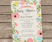 Baby Shower Invitation : Watercolor Foilage Baby Shower Invitation - Girl