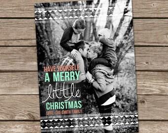Photo Christmas Card : Merry Christmas Modern Tribal and Arrows Custom Photo Holiday Card Printable