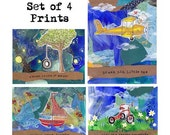 Set of 4 Children's Adventure Wall Art - Sailboat, Airplane, Tire Swing, Tricycle - Giclee Mixed Media - Nursery, Playroom, Kids Room, Boy