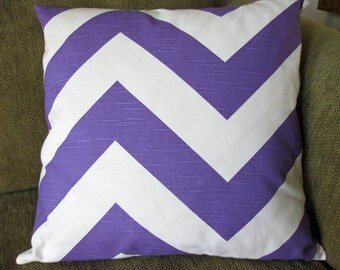 "One Decorative Throw Pillow Cover, 18"" x 18"", Purple and White Chevron  Print"