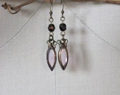 Vintage-Inspired Modern Earring / Valentines Day / Gifts for Her / Bronze / Pink Earring / Drop Earring / Dangle Earring / Gifts under 20