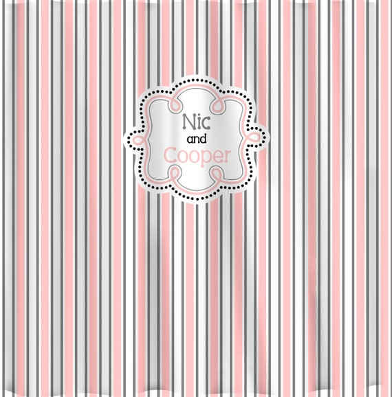 Items Similar To Personalized Fancy Stripe Shower Curtain Shown Pink Grey