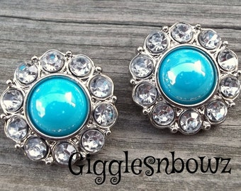 NEW Set of Two SHiNY AQUA Pearl and Clear Rhinestone Buttons 25mm