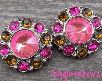 PuRRFeCTLy FaBuLouS- Set of 2 BRiGHT PiNK CeNTER with BRoWN and SHoCKiNG PiNK Rhinestone Buttons 25mm