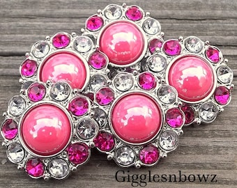 NEW Set of 5- SHiNY HoT PiNK Pearl with CLeaR and SHoCKiNG Pink Rhinestone Buttons 25mm