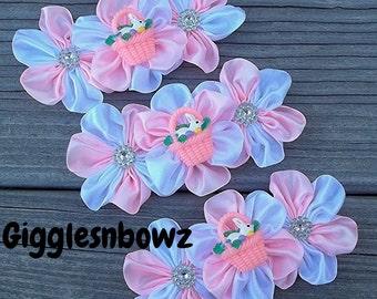 Set of THReE Embellished Satin CLuSTeR Flowers-PReTTY PiNK EaSTeR BaSKeT- 4 inch Size