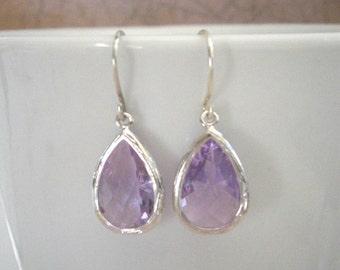Lavender Earrings,Silver Teardrop Earrings, Bridal Earrings, Bridesmaid Earrings, Best Friend, Sister, Mother, Birthday