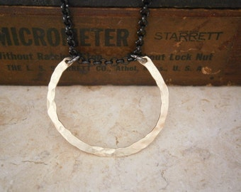 Horsehoe Necklace, Gold Horseshoe, Gunmetal Chain, Mixed Metal, Hammered, Natural, Organic, Simple