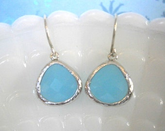 Aqua Earrings, Silver Earrings, Blue Earrings