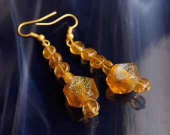 Handmade Dichroic Glass Earrings Antiqued Gold
