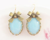 Aqua Blue Scallop Antique Gold Bow Earrings - Vintage Rhinestone Gold Lace Scallop Gold Plated Dangle Earrings - Wedding, Bridal, Bridesmaid