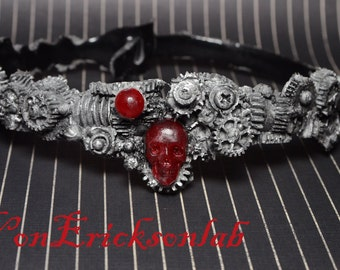 Steampunk  Gear Choker -  Silver Tone - Cyberpunk Jewelry