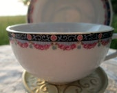 Vintage Teacup Tea Cup and Saucer Germany Pink and blue scallop flowers