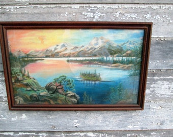 Antique Charcoal Chalk Drawing Sunset Sunrise Landscape Mountains lake Scene