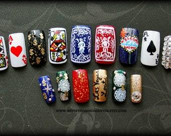 Fake Nails- Viva Las Vegas Handpainted Nail Art