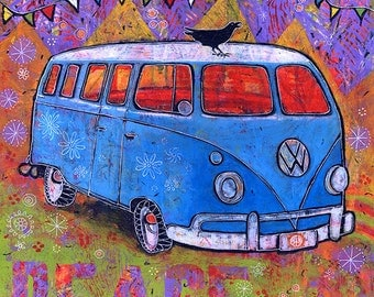 Whimsical Art, VW Bus Gallery Wrap Canvas Print titled Peace, Baby