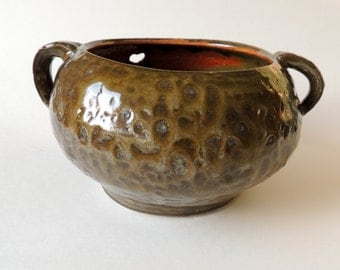 Autumn Ceramic Yarn Bowl Textured Olive Green and Rust Orange Glaze