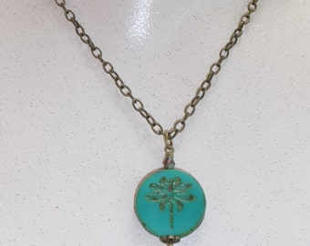 Dragonfly necklace, Turquoise green glass bead pendant on brass chain - N1632