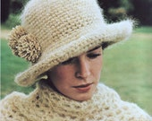 INSTANT DOWNLOAD PDF Vintage Crochet Pattern  Cloche Hat and Wrap Shawl  Retro