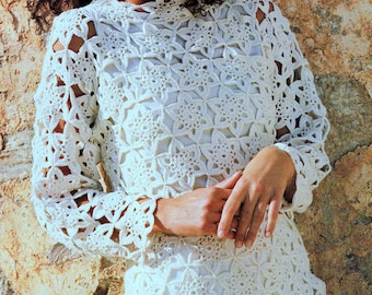 INSTANT DOWNLOAD PDF Vintage Crochet Pattern   Motif  Sweater Tunic Beach Cover Up