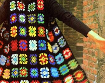 INSTANT DOWNLOAD PDF Vintage Crochet Pattern Granny Squares Long Waistcoat Tunic    Vintage Retro