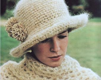 INSTANT DOWNLOAD PDF Vintage Crochet Pattern  Cloche Hat and Wrap Shawl  Retro