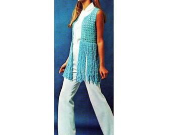 INSTANT DOWNLOAD PDF Vintage Crochet Pattern Fringed Bolero Waistcoat Vest 1970s Retro