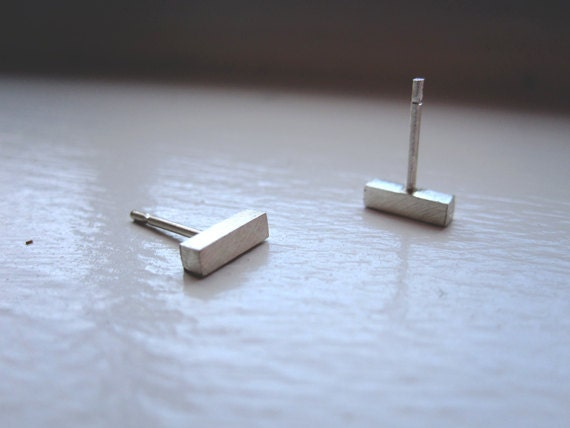 7mm Solid Sterling Silver Stud Earrings Gold Colored Brass