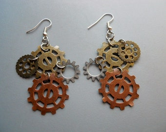 Watch Gear Cog Robot Steampunk Disc Bold Copper Brass Silver Steel Metal Earrings