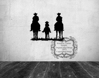 Family Riding Horses Vinyl Decal
