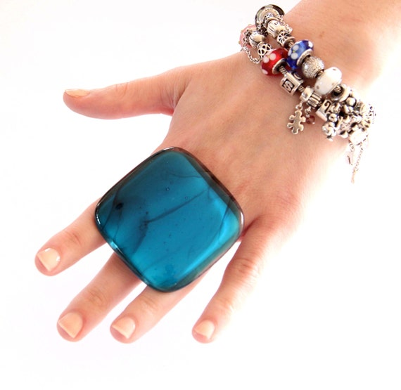 Glass Statement Ring Handmade,  big bold turquoise adjustable cocktail ring, SMOKIN TURQUOISE - 2.3 inch