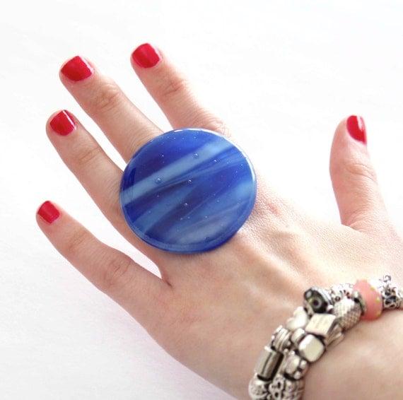 Cocktail Ring Fused Glass - big bold oversize handmade adjustable - BLUE HEAVEN  - 2 inch