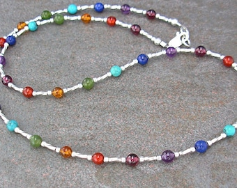 Rainbow Gemstone Necklace with Sterling Silver Spacers, Sm - Plus Size Necklace, 16, 18, 20, 22, 24 inch, Rainbow Necklace - Rainbow Jewelry