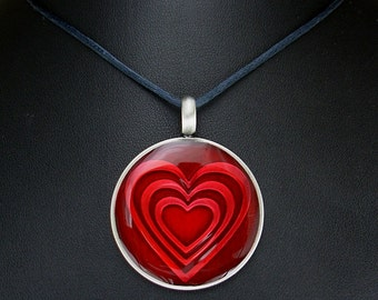 Big Red Heart Necklace - Large Resin Heart Pendant on Black Satin Cord